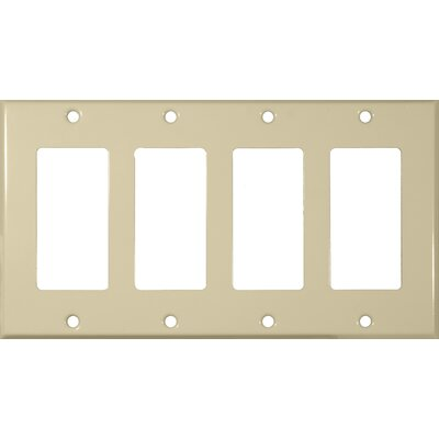 Morris Products Four Gang Decorator and GFCI Metal Wall Plates in Ivory