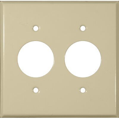 Morris Products 2 Gang 2 Single Receptacles Stainless Steel Metal Wall Plates in Ivory