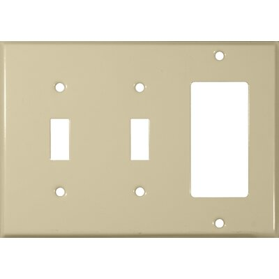Morris Products 3 Gang 2 Toggle 1 GFCI Stainless Steel Metal Wall Plates in Ivory