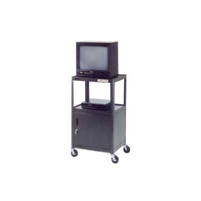 "Da-Lite Pixmate 18"" x 24"" Adjustable Shelf Standard Television Cart with Cabinet [32"" - 42"" Height]"