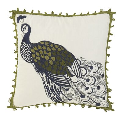 Casablanca Embroidered Peacock Accent Pillow