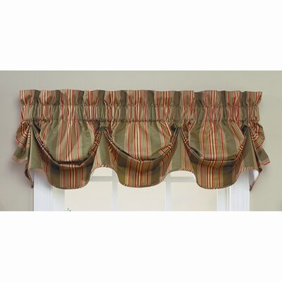 Waverly Sweetwater Stripe Cotton Rod Pocket Scalloped Curtain Valance