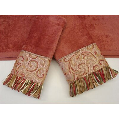 Sherry Kline Swirl Paisley Coral Decorative 3 Piece Towel Set