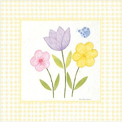 Gingham Flowers IV Wall Art