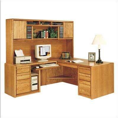 martin home furnishings l shape exec comp desk with hutch reviews wayfair. Black Bedroom Furniture Sets. Home Design Ideas