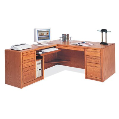 Martin Home Furnishings Contemporary L-Shape Executive Desk with Hutch Top (Left)