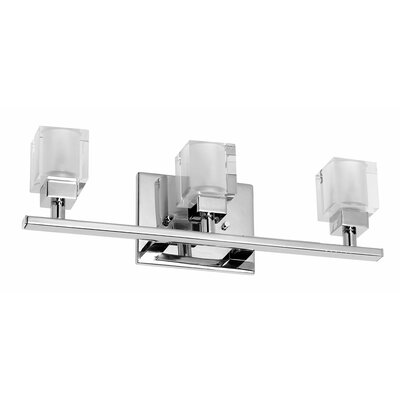 Dainolite New Era Glass Cube 3 Light Bath Vanity Light