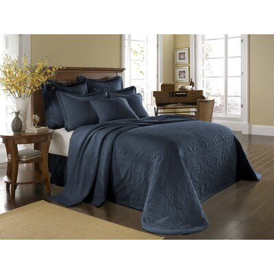 Historic Charleston King Charles Matelasse Bedspread Bedding Collection in Provincial Blue