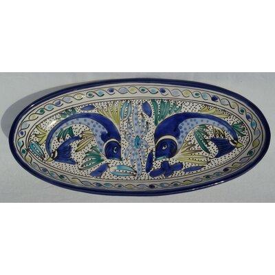 "Le Souk Ceramique Aqua Fish Design 16"" Oval Platter (Set of 2)"