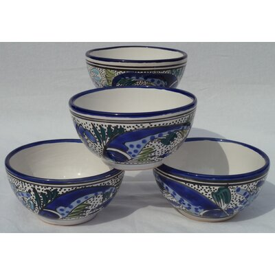 Le Souk Ceramique Aqua Fish Design Soup / Cereal Bowl (Set of 4)