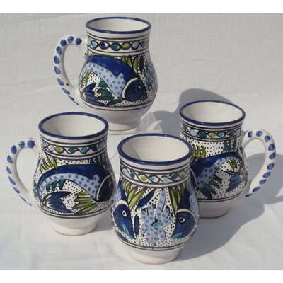 Le Souk Ceramique Aqua Fish Design 16 oz. Large Mug (Set of 4)