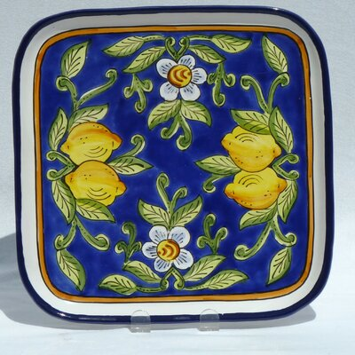 "Le Souk Ceramique Citronique Design 11.5"" Square Platter"