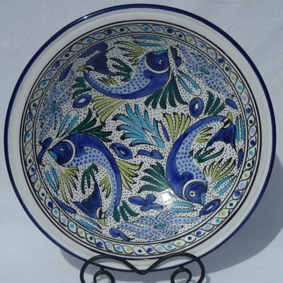 "Le Souk Ceramique Aqua Fish Design 16"" Serving Bowl"