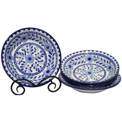 "Le Souk Ceramique Azoura Design 9"" Pasta / Salad Bowl (Set of 4)"