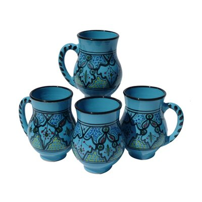 Le Souk Ceramique Sabrine Design 16 oz. Large Mug (Set of 4)