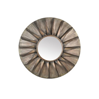 Moe's Home Collection Distressed Round Iron Mirror