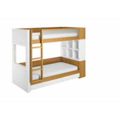 Nursery Works Duet Twin Bunk Bed with Bookshelves and Built-In Ladder