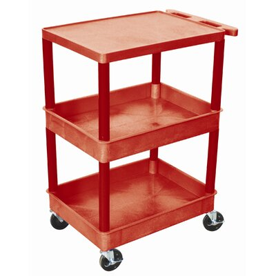 Luxor Top Flat Shelf and Middle/Bottom Tub Shelf Utility Cart