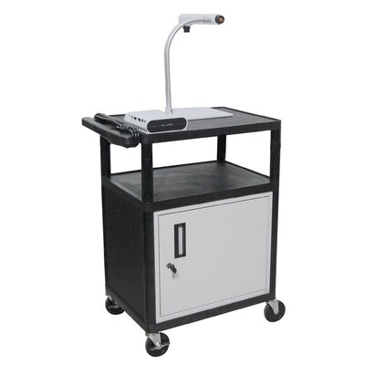 "Luxor 34"" High,  AV Cart Table with Locking Cabinet/Electric"