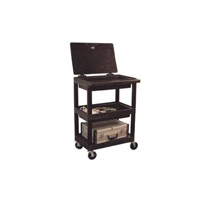 Luxor Three Shelf Utility Cart with Un-Hinged Plastic Lid