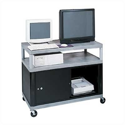 Luxor Three Shelf Extra Wide Mobile Workcenter with Cabinet