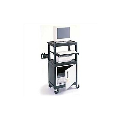 Luxor Stand-Up Laptop/Overhead Workstation with Locking Steel Cabinet