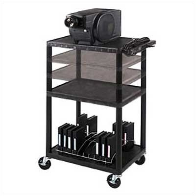 Luxor Height Adjustable AV Cart in Black