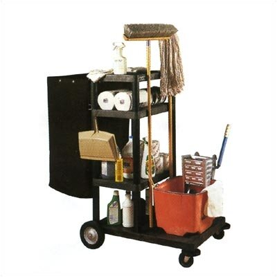 Luxor Four Shelf Janitor Cart