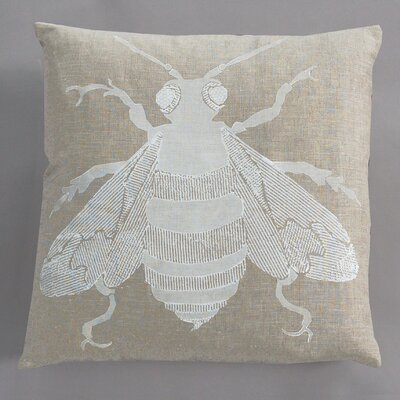 Dermond Peterson Bee White Pillow on Natural Linen