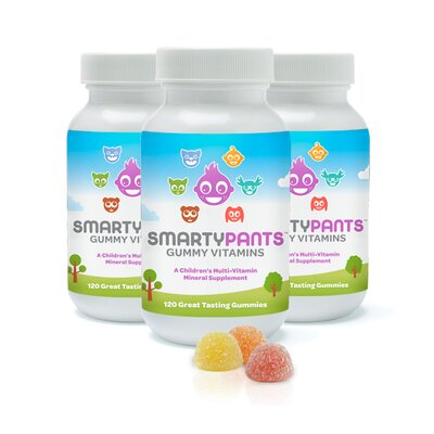 SmartyPants All-in-One Gummy Multi-Vitamins Plus Omega 3 & Vitamin D for Kids: 120 Count Single Bottle / (3 Packs)