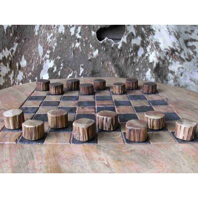 Groovystuff Teak Wood Checker Set