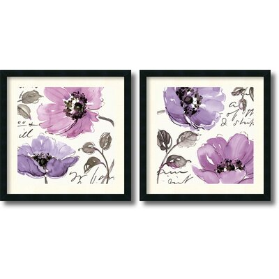 Floral Waltz Plum 2 Piece Framed Print Set By Pela Studio