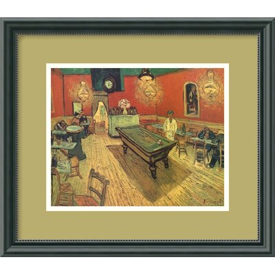 "Amanti Art Night Cafe with Pool Table by Vincent Van Gogh, Framed Print Art - 13.46"" x 15.46"""