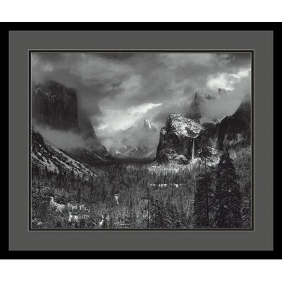 Clearing Winter Storm by Ansel Adams, Black Matted Framed Print Art - 21.04