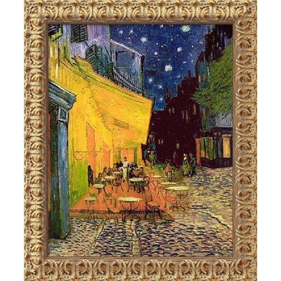 "Amanti Art Cafe Terrace at Night by Vincent Van Gogh, Framed Canvas Art - 23.5"" x 19.5"""