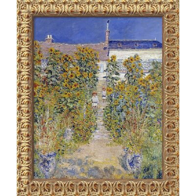 "Amanti Art The Artist's Garden at Vetheuil, 1880 by Claude Monet, Framed Canvas Art - 23.5"" x 19.5"""