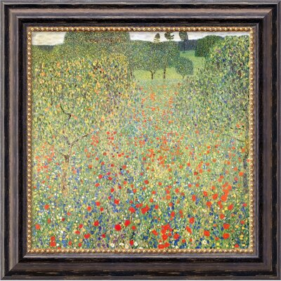 "Amanti Art Field of Poppies (Campo di Papaveri) by Gustav Klimt, Framed Canvas Art - 19.97"" x 19.97"""