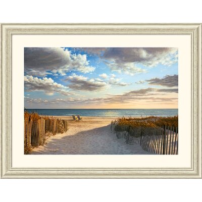 Sunset Beach by Daniel Pollera - Rustic Whitewash Frame Framed Fine Art Print - 33.88