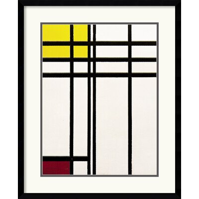 Amanti Art Opposition of Lines Red and Yellow Framed Print by Piet Mondrian