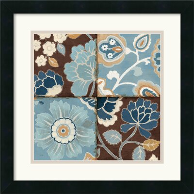 Patchwork Motif Blue II Framed Print by Alain Pelletier