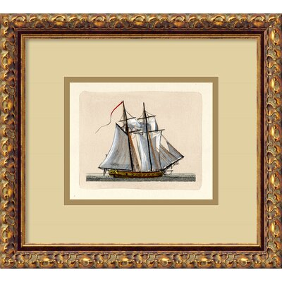 Amanti Art Full Sail (2 Masts) Italian Engraving Framed Print