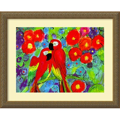 Parrots with Flowers by Robin, Framed Print Art - 18.12