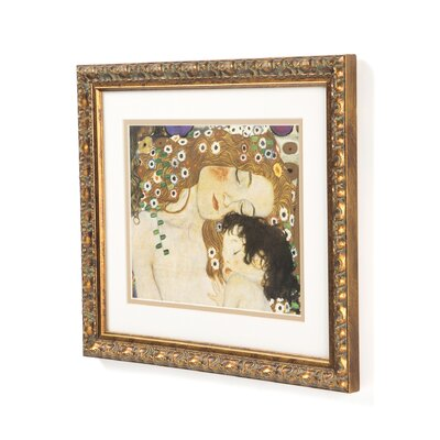 "Amanti Art Three Ages of Woman-Mother and Child (Detail IV) by Gustav Klimt, Framed Print Art - 12.78"" x 14.85"""