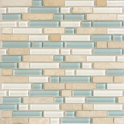 Legacy Glass Random Sized Glazed Linear Glass and Stone Mosaic in Arctic Blend