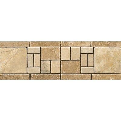 "Emser Tile Natural Stone 12"" x 4"" Travertine Vino Listello in Barbera"