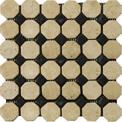 Natural Stone Random Sized Travertine Octagon Mosaic in Beige/Black
