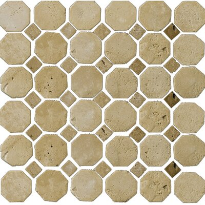 Natural Stone Random Sized Travertine Octagon Mosaic in Beige/Mocha