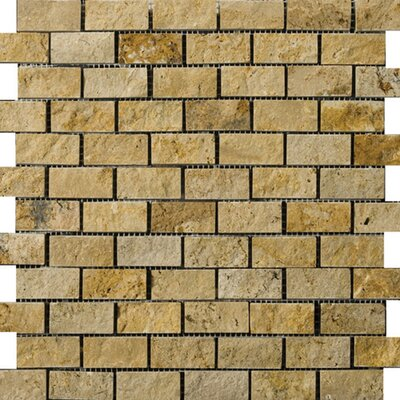 Emser Tile Natural Stone Travertine Split Face Brick-Joint Mosaic in Gold