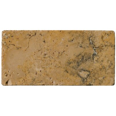 "Emser Tile Natural Stone 3"" x 6"" Tumbled Travertine Tile in Oro"