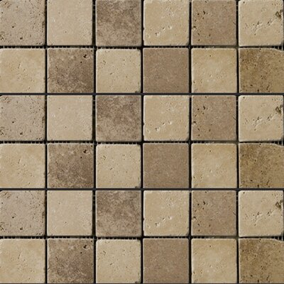 "Emser Tile Natural Stone 12"" x 12"" Tumbled Travertine Mosaic in Beige / Mocha"